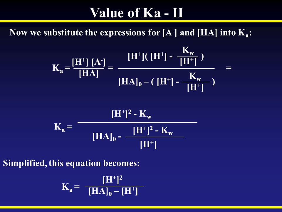 Value of Ka - II Now we substitute the expressions for [A-] and [HA] into Ka: [H+]( [H+] - )